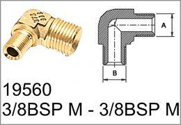 Ορειχάλκινη γωνία 3/8BSP M - 3/8BSP M